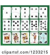 Clipart Of A Layout Of Club Playing Cards Royalty Free Vector Illustration
