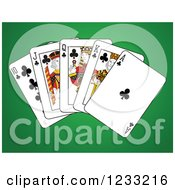 Clipart Of Clubs Royal Flush Playing Cards On Green Royalty Free Vector Illustration