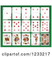 Clipart Of A Layout Of Diamond Playing Cards Royalty Free Vector Illustration