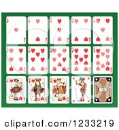 Clipart Of A Layout Of Heart Playing Cards Royalty Free Vector Illustration