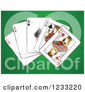 Clipart Of A Full House Playing Cards Of Queens And Aces 2 Royalty Free Vector Illustration