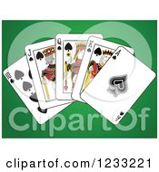 Clipart Of Spades Royal Flush Playing Cards On Green Royalty Free Vector Illustration