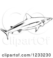 Clipart Of A Black And White Grey Reef Shark Royalty Free Vector Illustration