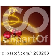 Clipart Of A Red Christmas Background With Red Baubles And Gold Presents Royalty Free Illustration by dero