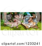 Clipart Of A Bear Teacher And Animal Students In The Woods Royalty Free Illustration by dero