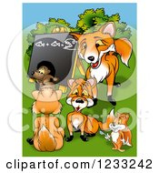 Clipart Of A Fox Teacher And Students Royalty Free Illustration by dero