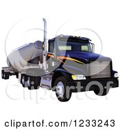 Clipart Of A Big Rig Bulk Tanker Komplet Royalty Free Vector Illustration