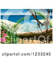 Clipart Of A Tropical Beach Bay Backdrop Royalty Free Illustration by dero
