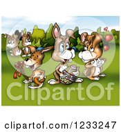 Clipart Of Easter Bunnies In A Meadow Royalty Free Illustration by dero
