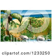 Clipart Of A Tropical Island Backdrop Royalty Free Illustration by dero
