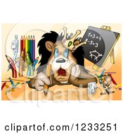 Clipart Of A Lion King Thinking With Art Supplies Royalty Free Illustration
