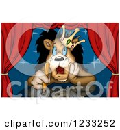 Clipart Of A Lion King Thinking On Stage With A Colored Pencil In Hand Royalty Free Illustration