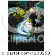 Clipart Of A Wizard In A Magic Forest Royalty Free Illustration