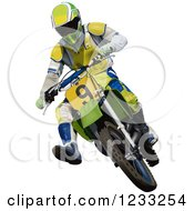 Clipart Of A Motocross Man On A Dirt Bike Royalty Free Vector Illustration by dero