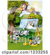 Clipart Of A Bird Flying Over An Artist Mouse Painting A Cat Royalty Free Illustration by dero