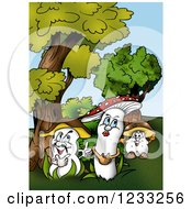 Clipart Of A Female Mushroom And Suitors Royalty Free Illustration