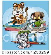 Clipart Of A Cheetah Dog And Mouse With School Supplies Royalty Free Illustration by dero