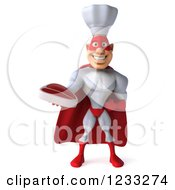 Clipart Of A 3d Male Super Chef Holding A Steak Royalty Free Illustration