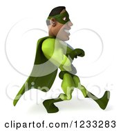 Clipart Of A 3d Male Black Super Hero In Green Speed Walking 3 Royalty Free Illustration