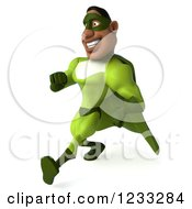 Clipart Of A 3d Male Black Super Hero In Green Speed Walking 2 Royalty Free Illustration
