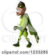 Clipart Of A 3d Male Black Super Hero In Green Walking 3 Royalty Free Illustration