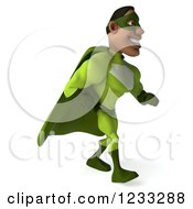 Clipart Of A 3d Male Black Super Hero In Green Walking 2 Royalty Free Illustration