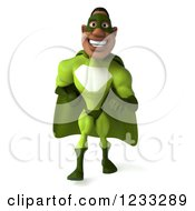 Clipart Of A 3d Male Black Super Hero In Green Walking Royalty Free Illustration