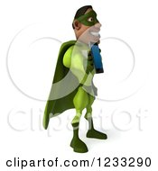 Clipart Of A 3d Male Black Super Hero In Green Talking On A Smart Phone 3 Royalty Free Illustration