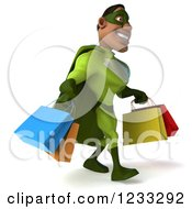 Clipart Of A 3d Male Black Super Hero In Green Carrying Shopping Bags 2 Royalty Free Illustration