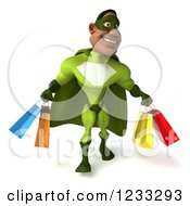 Clipart Of A 3d Male Black Super Hero In Green Carrying Shopping Bags Royalty Free Illustration