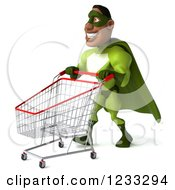 Clipart Of A 3d Male Black Super Hero In Green Pushing A Shopping Cart 2 Royalty Free Illustration