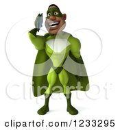 Clipart Of A 3d Male Black Super Hero In Green Talking On A Smart Phone Royalty Free Illustration