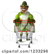 Clipart Of A 3d Male Black Super Hero In Green Pushing A Shopping Cart Royalty Free Illustration