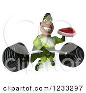 Clipart Of A 3d Strong Black Super Hero Man In A Green Costume Lifting A Heavy Barbell And Steak Royalty Free Illustration