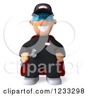 Clipart Of A 3d Happy Super Mechanic 2 Royalty Free Illustration
