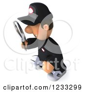 Clipart Of A 3d Happy Auto Mechanic Man With A Magnifying Glass 2 Royalty Free Illustration