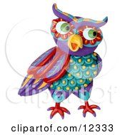 Clay Sculpture Clipart Decorative Owl Looking Right Royalty Free 3d Illustration by Amy Vangsgard