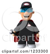 Clipart Of A 3d Happy Super Mechanic Royalty Free Illustration