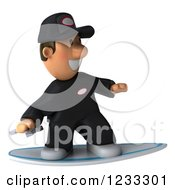 Clipart Of A 3d Happy Auto Mechanic Man Surfing Royalty Free Illustration