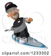 Clipart Of A 3d Happy Auto Mechanic Man Surfing 2 Royalty Free Illustration