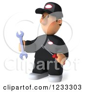Clipart Of A 3d Happy Auto Mechanic Man With Tools Royalty Free Illustration