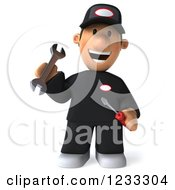 Clipart Of A 3d Happy Auto Mechanic Man With Tools 2 Royalty Free Illustration
