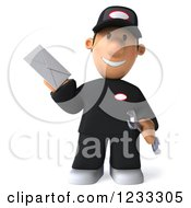Clipart Of A 3d Happy Auto Mechanic Man With An Envelope Royalty Free Illustration