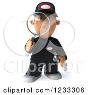 Clipart Of A 3d Happy Auto Mechanic Man With A Magnifying Glass Royalty Free Illustration