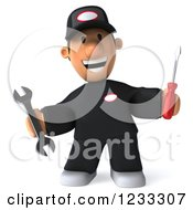 Clipart Of A 3d Happy Auto Mechanic Man With Tools 3 Royalty Free Illustration