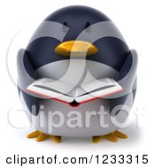Clipart Of A 3d Penguin Reading A Book Royalty Free Illustration