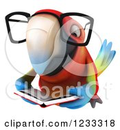 Clipart Of A 3d Bespectacled Macaw Parrot Flying And Reading A Book Royalty Free Illustration