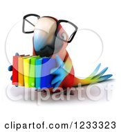 Clipart Of A 3d Bespectacled Macaw Parrot Holding A Stack Of Books Royalty Free Illustration