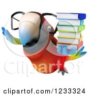 Clipart Of A 3d Bespectacled Macaw Parrot Flying With A Stack Of Books Royalty Free Illustration by Julos