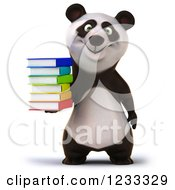Clipart Of A 3d Panda Holding A Stack Of Books Royalty Free Illustration by Julos